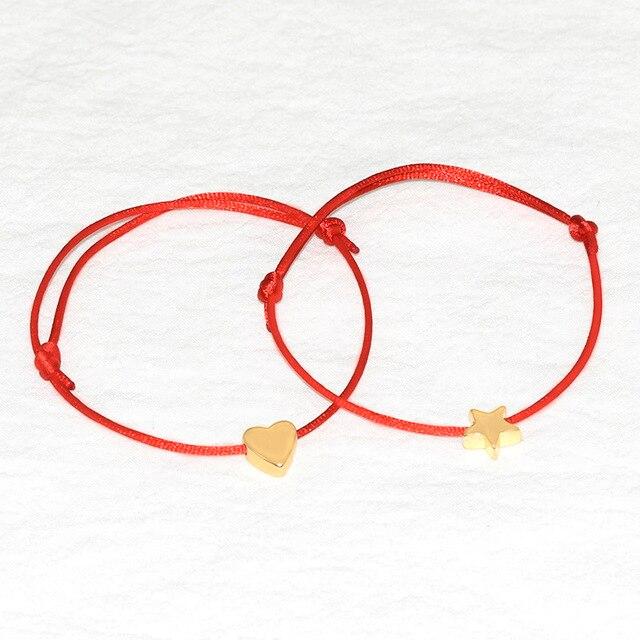 Gold Silver Heart Bracelet Multicolor Rope Adjule String Lucky For Women Children Handmade Diy