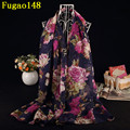 Vintage Graffiti Big Peony Flowers Long Shawl Women Flower Stripe Leaf Scarves Winter Chevron Scarf Female Floral Design Wrap