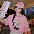 Women Summer Tee Shirts 2017 Fashion Blusas Korea Harajuku Cartoon Letters Print Women Short Sleeve Pink T-shirts Casual Tops
