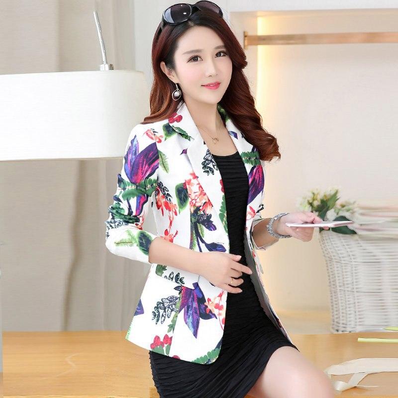 Single Buckle Flower Print Blazer Suit Blazers Jacket Office Lady Style Coat Business Formal Wear Women Floral Blazer Elegant