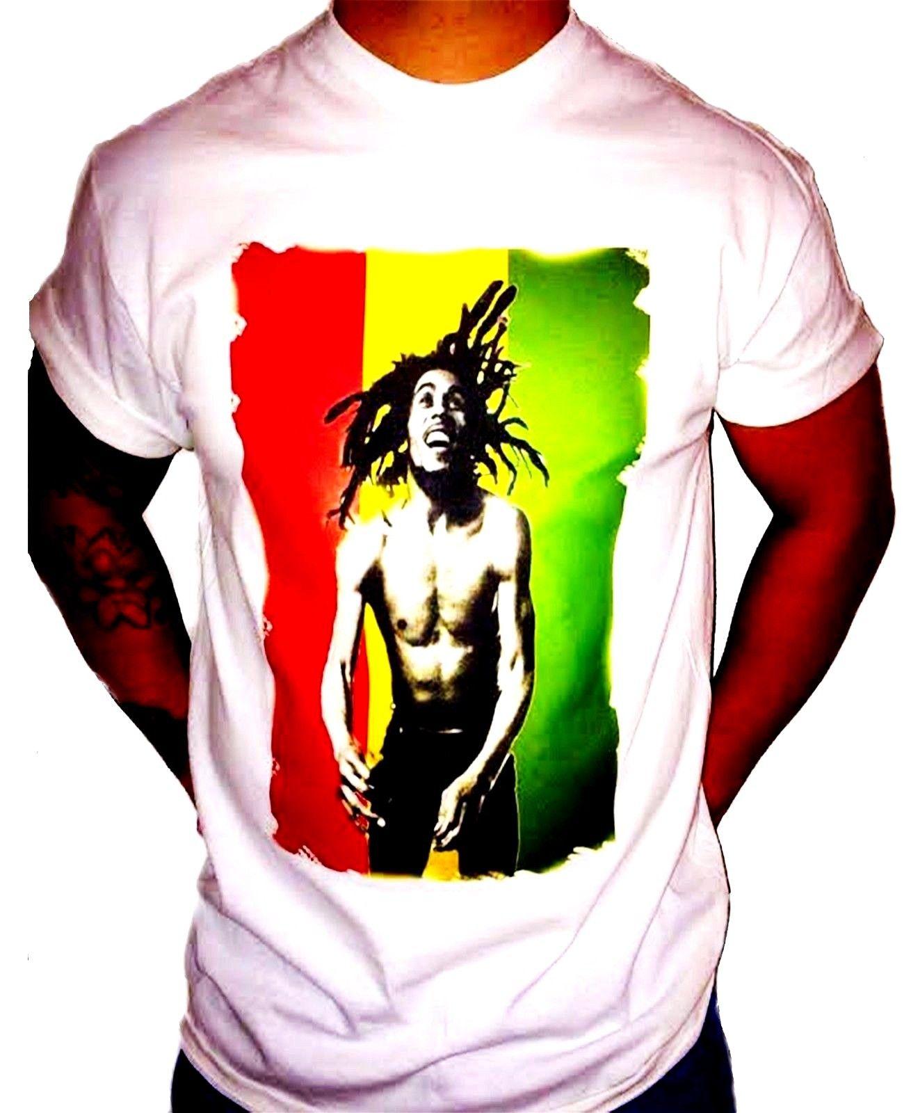 T-shirts Tops & Tees Hot Bob Marley White Graphics T Shirt Regular-fit Tee At Any Cost