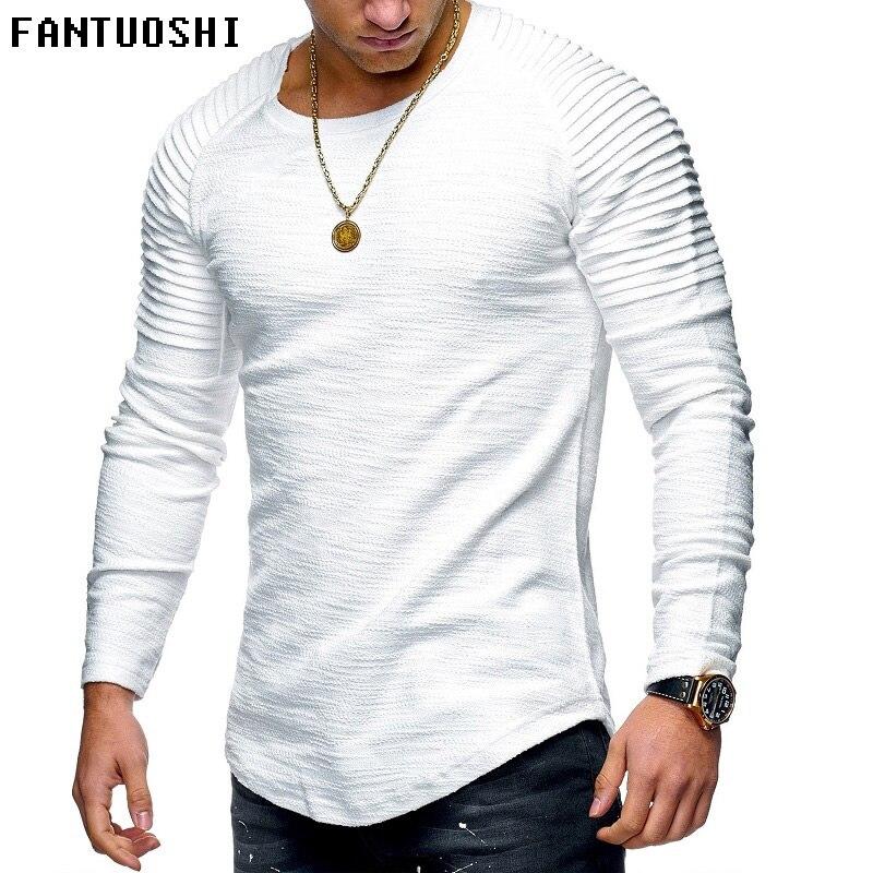 half off c6464 1ec5c 2018 neue mode männer rundhals Schlank einfarbig lange-ärmeln T-shirt  falten männer T-shirt hip-hop casual t-shirt Weiß 4XL