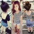 Novatx chica camiseta niñas bebé de la manera camiseta de algodón encantadora detuvo a rayas de manga corta T camisas de los niños 1-5y ropa para niñas