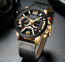CURREN Men Fashion Chronograph Male Top Brand Luxury Quartz Watch Men Leather Waterproof Sport Watch Relogio Masculino