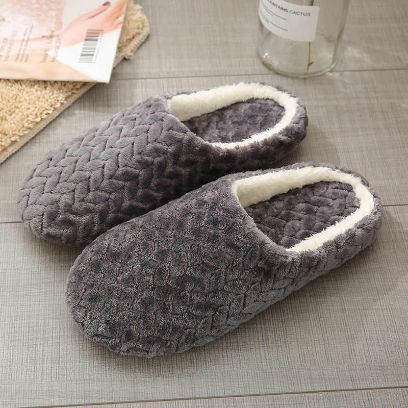 Mùa thu Đông Nữ Dép Nữ Đáy Mềm Mại Nhà Áo Thun Cotton Nam Dép Đi Trong Nhà Trơn Trượt Nữ Giày Thoải Mái Cho cặp đôi