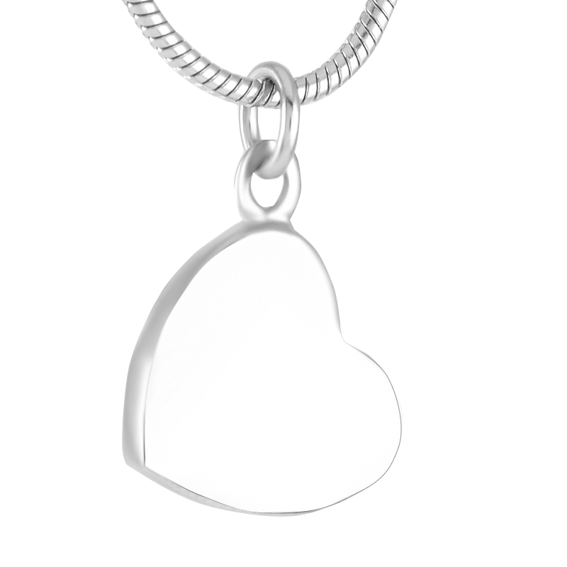 K9421 Stainless Steel Small Heart Charm Cremation Pendant Keepsake Necklace Ashes Holder Urn Keepsake Jewelry