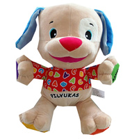 Lithuanian Speaking Dog Toy Singing Doll in Lithuania Language Plush Musical Toys for Baby Boy Infant Stuffed Educational