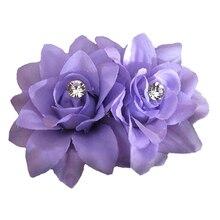 HTHL Moda Flor Del Pelo Clip de la Horquilla de Novia de La Boda Accesorios para el Cabello Partido Púrpura