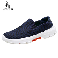 HOMASS 2018 New Sneakers Summer Autumn Air Mesh Casual Men Shoes Breathable Slip On Flats For Man Light Loafers Big Size 37 45