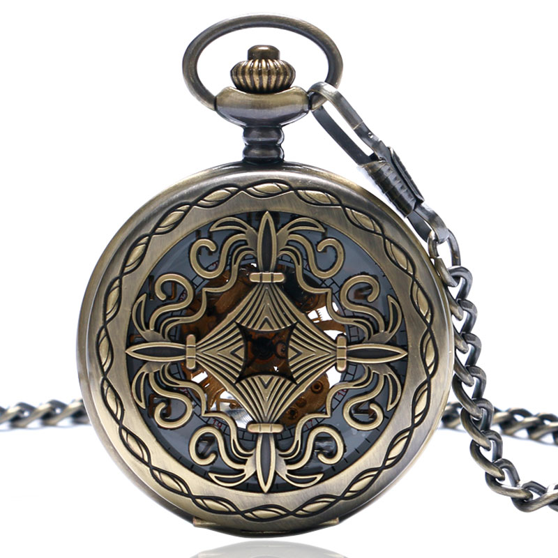 Retro Chinese Knot Skeleton Hand Wind Mechanical Pocket Watch With White Dial Fob Watches with Chain