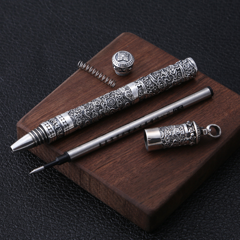 Buddha Pendant 100% 925 Sterling Silver Jewelry Men Women Creative Mantra Cloud Ballpoint Pen Necklace Pendant Christmas Gift P8