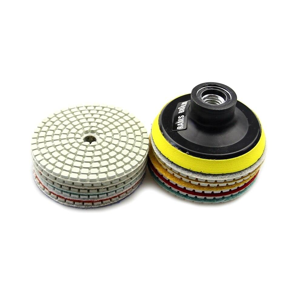 "Image 4 - 10 + 1 pcs 3""/80mm Diamond Flexible Wet Polishing Disc + Holder for Marble Stone Ceramic Granite Tile Concrete Grinding-in Abrasive Tools from Tools"