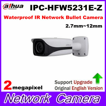Free Shipping DAHUA Security IP Camera 2MP Full HD WDR Waterproof IR Network Bullet Camera with POE without Logo IPC-HFW5231E-Z free shipping dahua security outdoor camera 2mp wdr ir mini bullet network camera ip67 with poe without logo ipc hfw4231e se