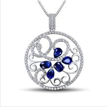 TJP Exquisite Crystal Blue Flower Pendant Necklace Girls Jewelry Fashion 925 Sterling Silver Women Choker Piercing Hot