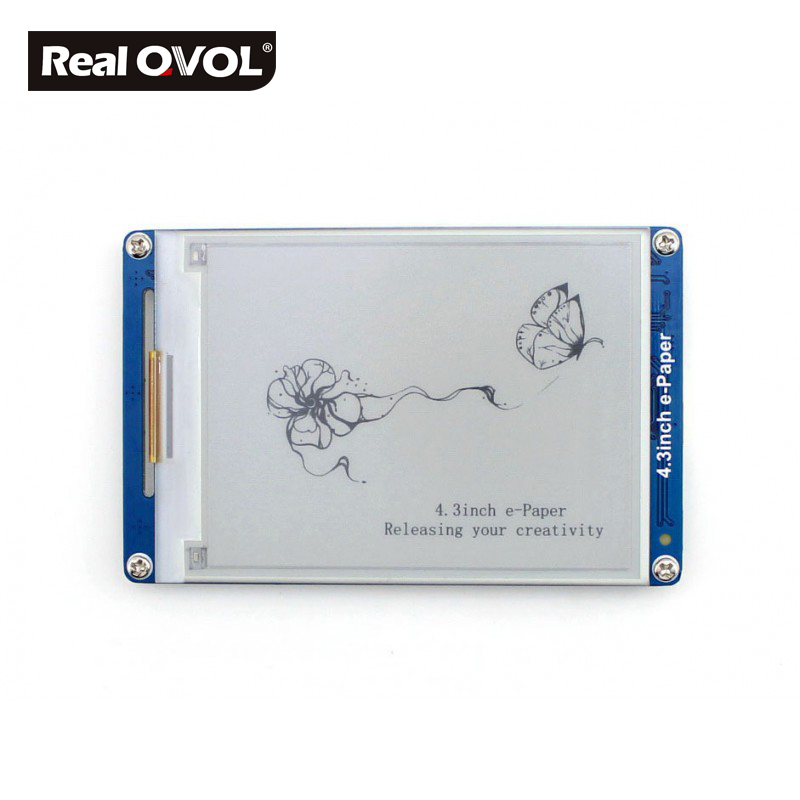 RealQvol 4.3inch e-Paper UART Module serial interface electronic paper display 4 grey level displaying, 800x600 resolution esp 07 esp8266 uart serial to wifi wireless module