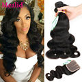 7a Peruvian Virgin Hair With Closure 3 Bundles Peruvian Body Wave With Closure Human Hair With Closure Lace Closure With Bundles