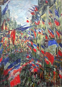 High quality Oil painting Canvas Reproductions The Rue Montargueil with Flags (1878) By Claude Monet hand painted