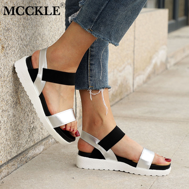 MCCKLE Women Sandals Slip On Elastic Band Female Summer Shoes Platform Roman Female Flat Sandals mujer sandalias Ladies Footwear new casual women sandals shoes summer fashion slip on female sandals bohemian wild ladies flat shoes beach women footwear bt537