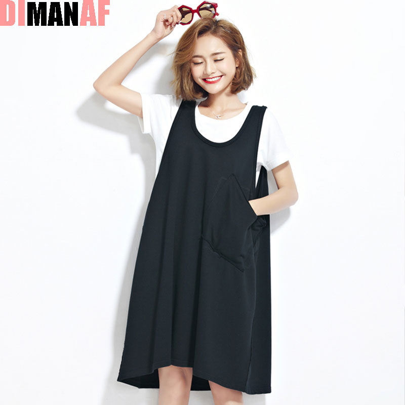 Women Plus Size Dress Summer Sundress Sleeveless Female Pocket Fashion Loose Casual Stylish Black Kawaii Tops&Tees Vest Dresses