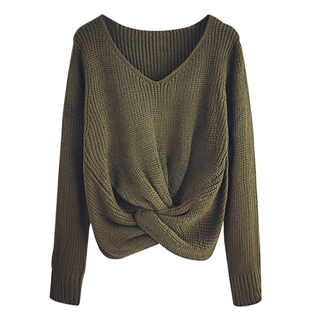 Sleeve Solid Color V-neck Sweater 2