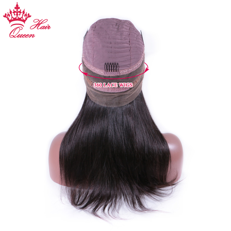 Queen Hair Products 360 Lace Frontal Wigs Straight For Black Women with Baby Hair Brazilian Human Hair wig full Lace Front Wig