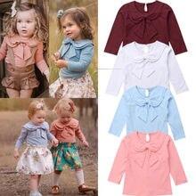 Детское платье с бантом и круглым отложным воротником для малышей; хлопковая футболка с длинными рукавами; однотонные Топы; футболка