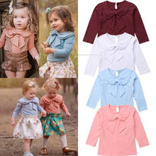 Toddler Kids Baby Girl Bowknot Peter Pan Collar Cotton T-shirt Long Sleeve Solid Tops Clothes Tee Shirt(China)