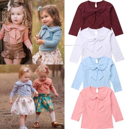 Toddler Kids Baby Girl Bowknot Peter Pan Collar Cotton T-shirt Long Sleeve Solid Tops Clothes Tee Shirt