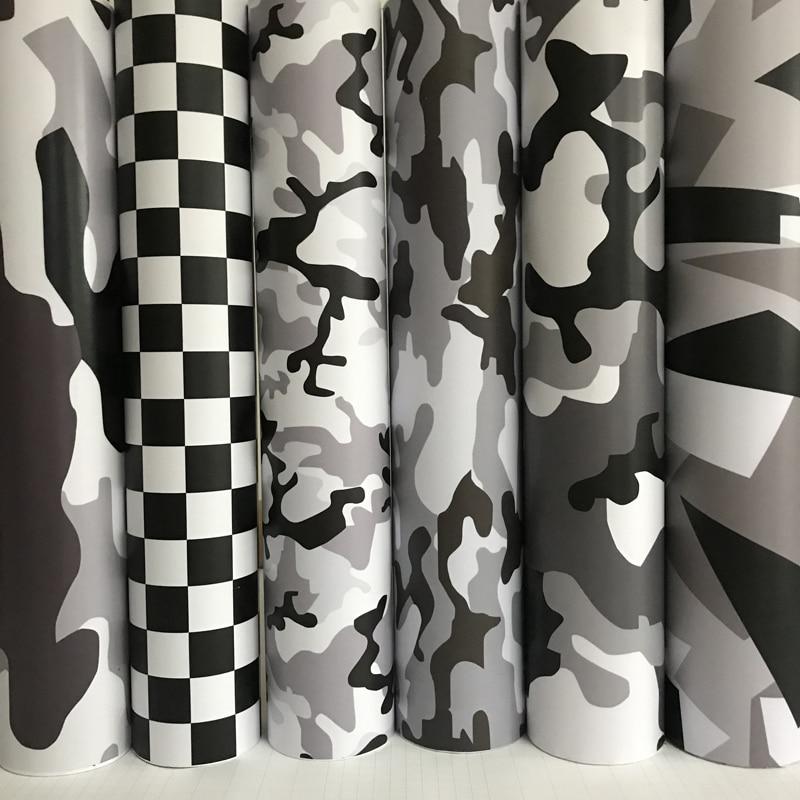 Черный, белый, серый, камуфляжная виниловая пленка, снежный камуфляж, виниловая автомобильная пленка, воздушный пузырь, Бесплатная наклейка...