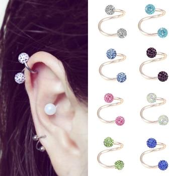 ¡Novedad! 1 pieza de joyería de cristal brillante S syele, Piercing de helio para el cuerpo, Piercing de oreja de cartílago para mujer, pendiente de acero quirúrgico oorbellen
