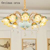 Французская роскошная хрустальная люстра гостиная столовая Европейский стиль светодио дный светодиодная цинковый сплав керамическая хру