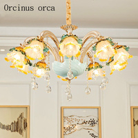 French Luxury Crystal Chandelier Living Room Dining Room European Style Led Zinc Alloy Ceramic Crystal Lamp