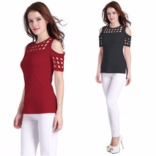 Summer Italian new fashion personality square shape hollow sexy Slim female T-shirt
