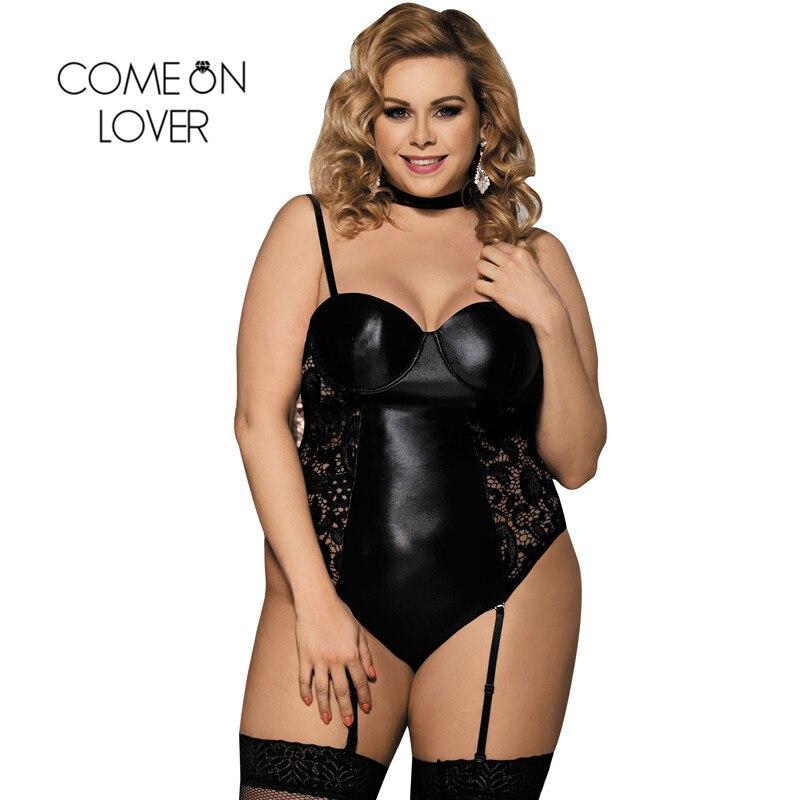 Comeonlover Body Plus izmēra lateksa mitrās izskatu apakšveļas eksotiskās mākslīgās ādas apavi Sexy Black vinila un mežģīņu zeķturis Teddy RI80384