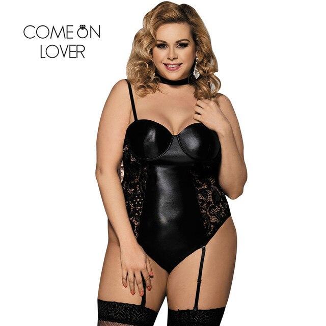 61797dabda Comeonlover Cuerpo Plus size latex wet look Lencería exóticos Faux cuero  Cuerpo traje negro sexy vinilo