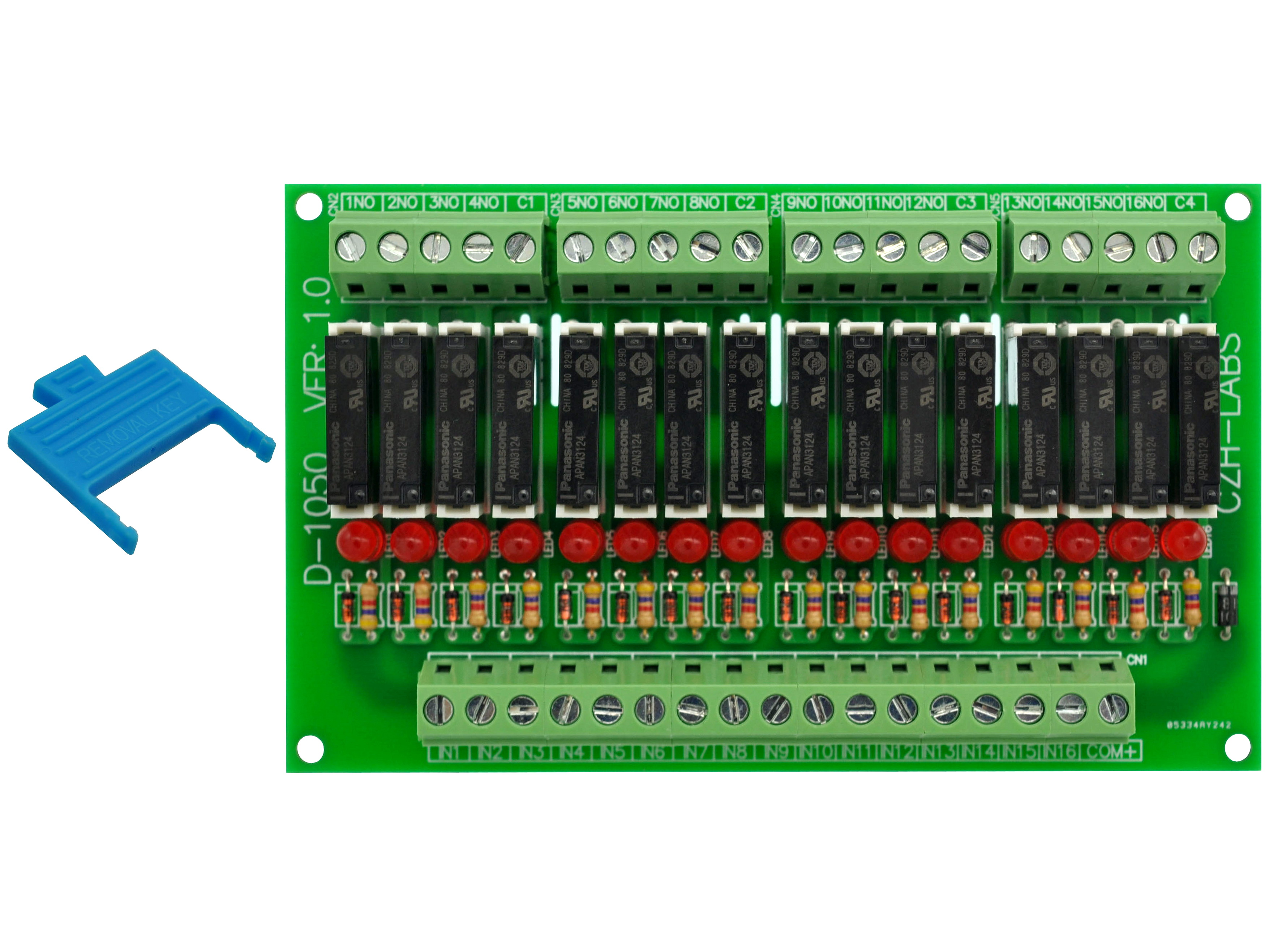 Slim Panel Mount DC24V Sink/NPN 16 SPST-NO 5A Power Relay Module, APAN3124