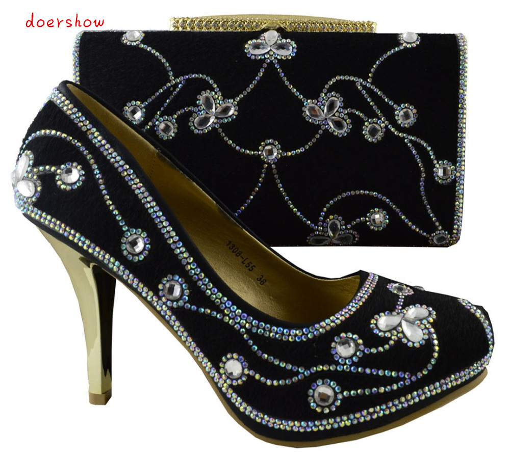 doershow Nice looking black Italian matching font b shoe b font and bag sets for lady