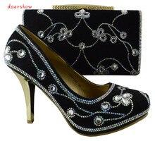 Nice-looking doershow preto conjuntos de sapato combinando Italiana e saco para a senhora, as mulheres Africanas sapatos e bolsa conjunto para a festa! HJZ1-104