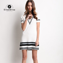 Luxury Brand Sweater Dress Short Sleeve EE Autumn Women's Fashion Sweater Dress A-Line