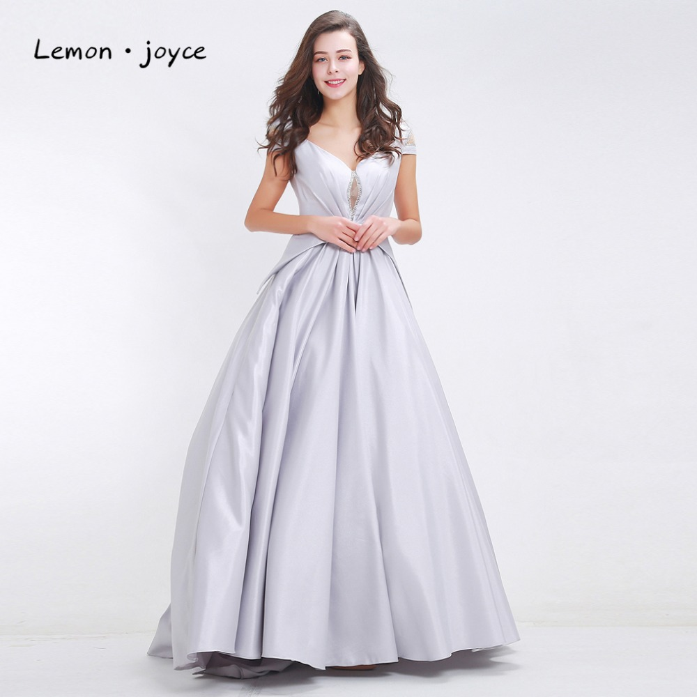 Fashion Grey Evening Dresses 2018 Ball Gowns for Women V neck Cap ...