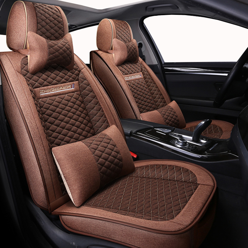 (Front + Rear) universal Flax car seat covers For mitsubishi asx montero outlander 3 xl pajero 2 3 4 full sport colt of 2018