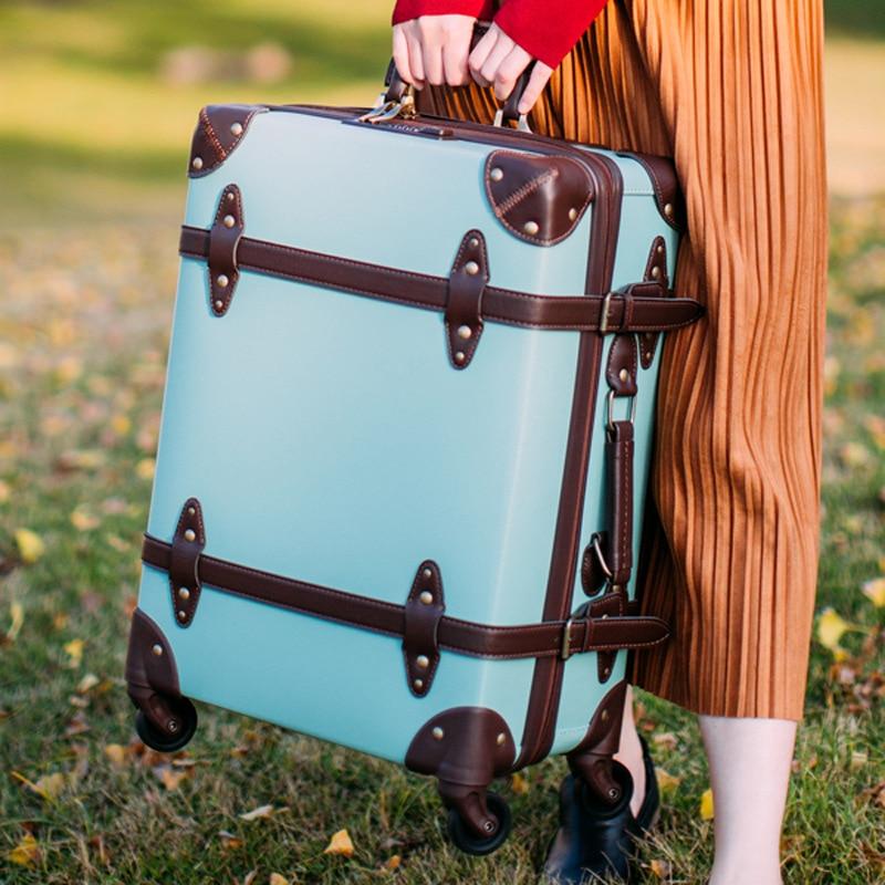 LeTrend rétro bagage à roulettes Spinner 24/28 pouces haute capacité valise roues 20 pouces étudiants continuent sac de voyage chariot-in Valises from Baggages et sacs    1