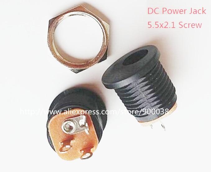 20 шт./лот вертикальный винтовой DC Мощность Jack 5.5x2.1 мм штекер разъем через отверстие припой печатного монтажа рейтинг DC 30 В 1.0a id2.0