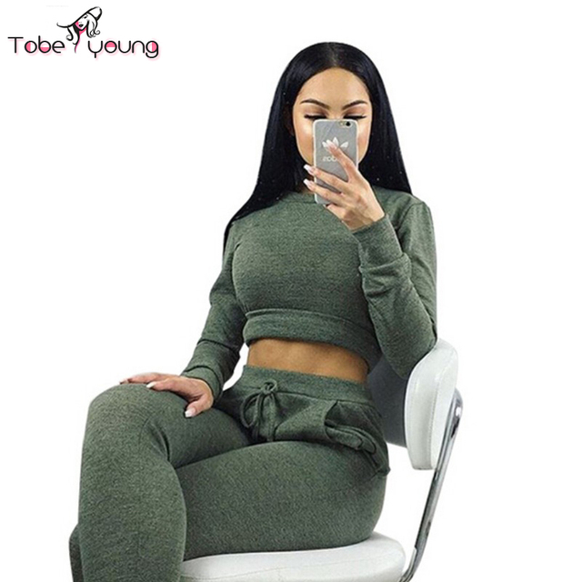 1e1aacfc4610e 2pcs Women Sexy Cropped Hoodie Sweatshirts Pullover Jumper Top Crop Tops  Blouse Sweatpants Trousers Sets Outfits Two Piece Set