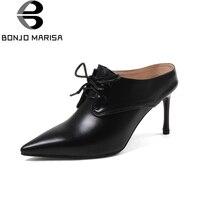 BONJOMARISA inek hakiki deri ince yüksek topuklu bayan ayakkabıları zarif katır kadın ayakkabı pompaları dantel up ofis bayanlar ayakkabı