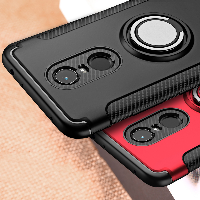 muchi for Xiaomi Redmi 5 Plus Case Hybrid Silicone PC Rugged Armor with Metal Finger Ring Holder Back Cover for Xiaomi Redmi5