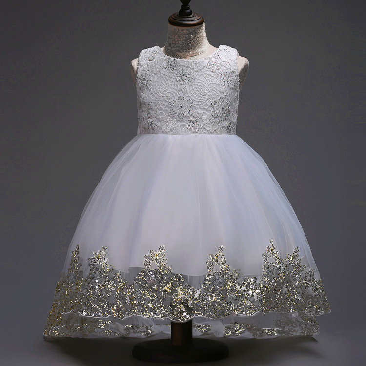 купить Baby flower girl sequins dress party gown formal prom kid white sleeveless children wedding gowns for girls dresses size 7 to 12 дешево