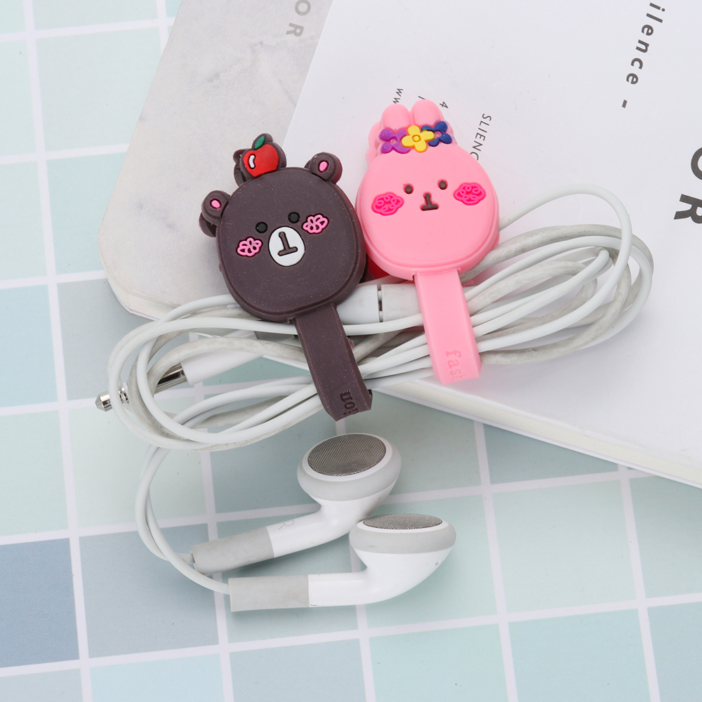 Cute Cartoon Earphone Headphone Cable Wire Cord Winder Organizer Clip Wrap