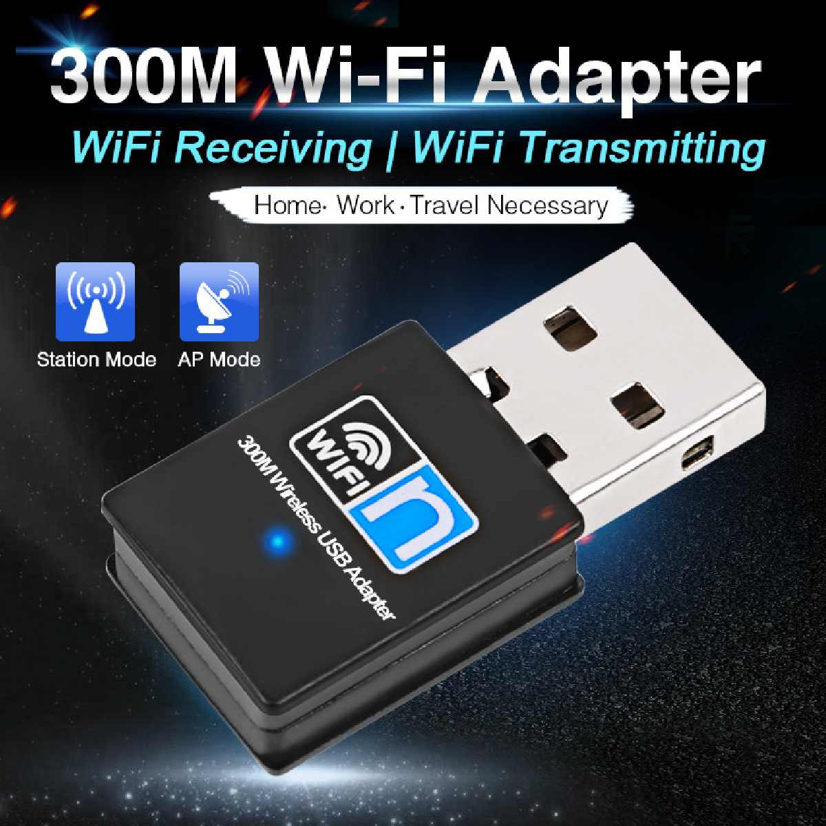 LEORY USB Wifi Adapter 802.11n 300Mbps Wi Fi Adapter Dongle Network LAn Card Wifi Receiver Networking Cards
