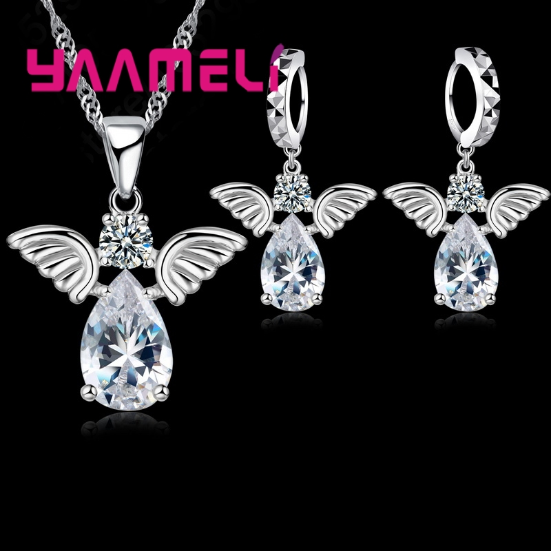 Cute Angel Shape Jewelry Sets Crystal 925 Sterling Silver Pendant Necklace Earring Set Lady Birthday Ship